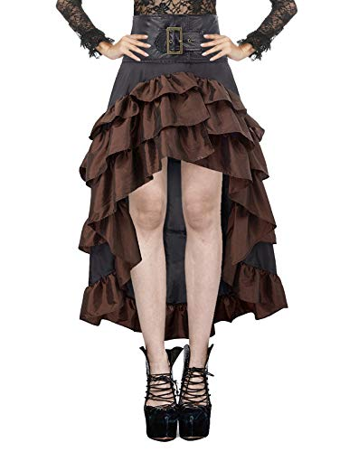 Womens Vintage Skirt Steampunk Gothic Pirate Ruffled Costume Black Brown XL -