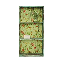 Creative Co-op Metal 3-Tier Shelf with Floral Back, Blue