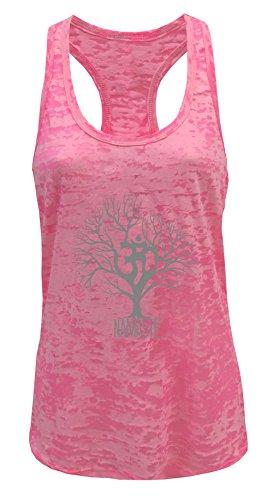 Tough Cookie's Women's Yoga Burnout Single Print Tank Top Multiple Colors (Medium, Neon Pink Tree)