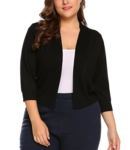 Womens Classic 3/4 Sleeve Knit Open Front Cropped Cardigan (16W, Black)