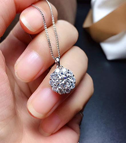 Art Deco Aesthetic Moissanite Pendant Necklace Handmade Jewelry Sterling Silver Engagement Cocktail Wedding Women