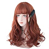 Bleaching Hair Orange - Long Wavy Red Orange Wig - Ginger Wig Bangs For Women Cosplay, Party, Halloween and Daily, Natural Synthetic Orange Hair Lolita Wig with Wig Cap