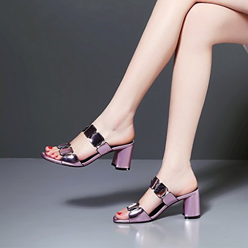 Sandals ZCJB Women's Shoes Casual and Slippers Thick Square Head High-Heeled Shoes Comfortable Non-Slip Slippers Pink wJNxbGT8Of