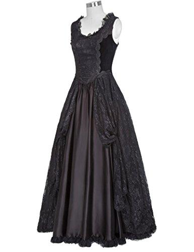 Belle Poque Lang schwarz Bp378 Kleid Damen 1 Kleid Steampunk Schwarz Gothic Corsagenkleid drxZqwA6Td