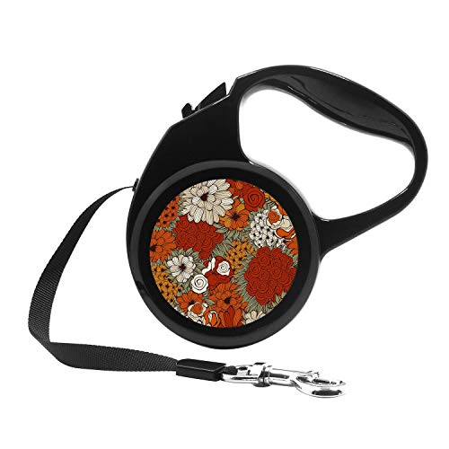 Retractable Dog Leash, 7ft Dog Walking Leash for Small Dogs up to 26lbs, One Button Break & Lock, Unique Design - Floral Pattern with Funky Flowers
