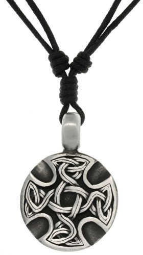 Pewter Medallion Pendant - Jewelry Trends Pewter Celtic Medallion Unisex Pendant with Adjustable Black Cord Necklace