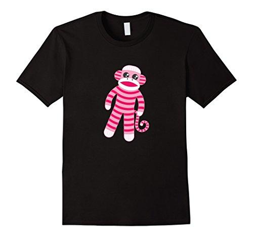 Mens Cute Pink Striped Sock Monkey T-Shirt Large Black