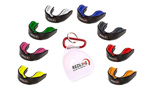 Redline Sportswear Mouthguard w/ Vented Case - Protection For All Contact Sports (Yellow & Black) (Gel Guard Mouth)