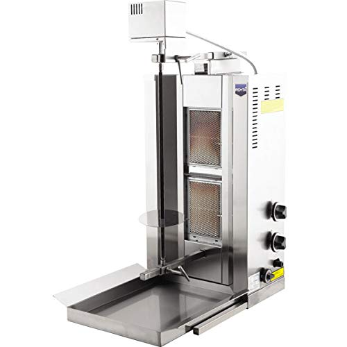 Gyro Broiler - Automatic Rotating Full Set Natural Gas Model 21000 BTU Meat Capacity 25 kg / 55 lbs. 2 Burner Spinning Grills Vertical Broiler Shawarma Gyro Doner Kebab Tacos Al Pastor Grill Machine Rotisserie