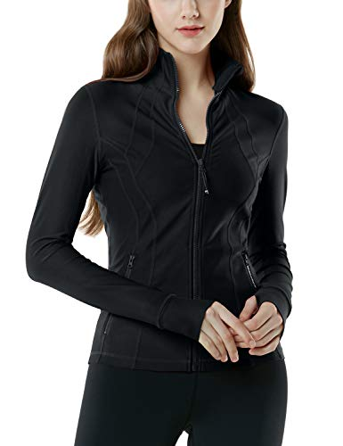 TSLA Women's Yoga Lightweight Active Performance Full-Zip Jacket, Full-Zip(fyj01) - Black, Medium