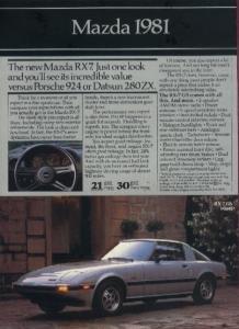 1981 MAZDA RX7/GLC CUSTOM & SPORT/626 SPORT COUPE/SEDAN ORIGINAL COLOR AD - NICE ! USA !