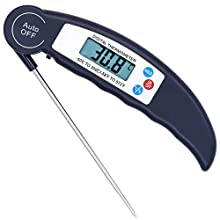 Meat Thermometer, Aessdcan Super Fast Instant Read Thermometer, Backlight and Calibration Food Thermometer for Food, Candy, Milk, Tea, BBQ, Outdoor and Kitchen Cooking, MT03
