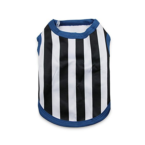 [DroolingDog Pet Dog Outfit Sports Jersey Baseball Stripe Referee Shirt Vest Costume for Small Dogs,] (Referee Shirts Costume)