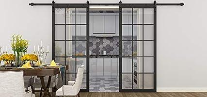 DIYHD - Puerta corredera de cristal con marco negro de 30 x 84 ...