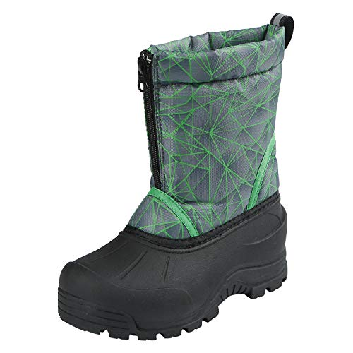200g Thinsulate Insulation - Northside Boys' Icicle Snow Boot, Gray/Lime, 7 Medium US Big Kid