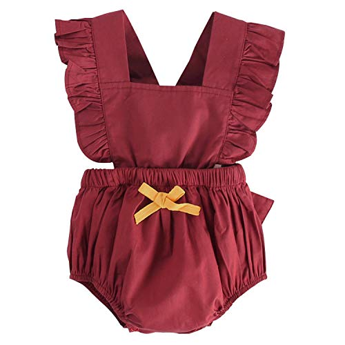 (Unmega Baby Girl Twins Romper Lotus Sleeve Jumpsuit Ruffle Bowknot Bodysuit 1 Piece Matching Outfit (Red, 73/6-12 Months))