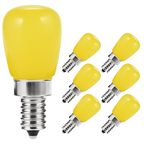 LOHAS Yellow Bug Light Bulbs Amber E12 LED Bulb, 2Watt(20W Equivalent), Candelabra Shape Bulbs, S14 S11 Mini Bulb, Night Lights for Hallway House Decoration Lights, 200 Lumens, Non-Dimmable(6 Pack)