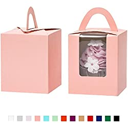 Yotruth Auto Pop-up Tall Cupcake Boxes Single Pink 50 Sets with Window Insert and Handle For Standard Size Cupcakes For Birthday