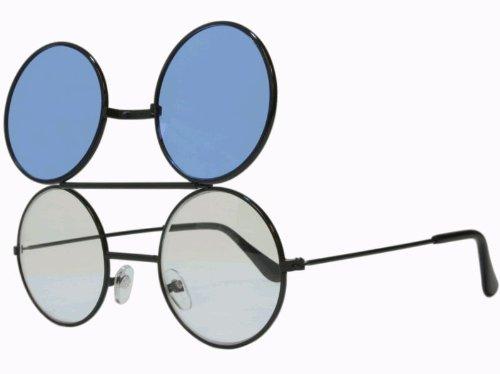 G&G Round Flip Up Sunglasses Black