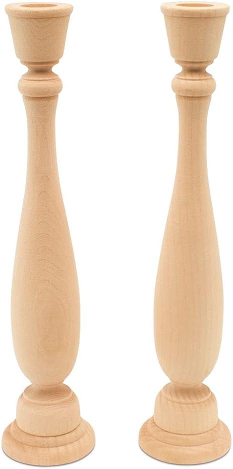 Candlesticks Holders Retro Unpainted Wood Classic Craft Candlesticks Holders