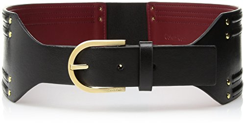 - Calvin Klein Women's Smooth Leather Wide Strap with Stretch Back, black, SMALL/MEDIUM