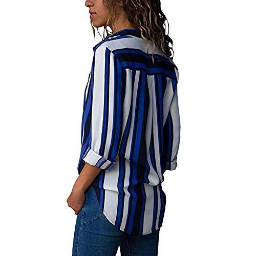 Chic Loose Cou Rayure Automne Imprim Printemps Chemisier Top Decha Longue Bleu Casual Ray Chemise Manche Blouse T V Femme Shirt ESC7qv