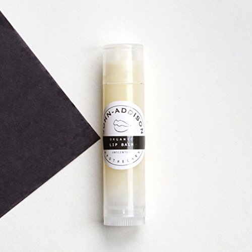 ORGANIC LIP BALM by JOHN ADDISON - Lip Chap - Keeps Lips Looking Full by Retaining Skins Natural Moisture Barrier - Protects The Epidermis From Drying Cracking Peeling - Bees Wax - Shea Butter - Coconut Oil - Jojoba Oil - Unscented - All Natural - Petroleu