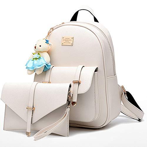 BAG WIZARD Fashion Shoulder Bag Rucksack Faux Leather Women Girls Ladies Backpack Purse Set Travel -