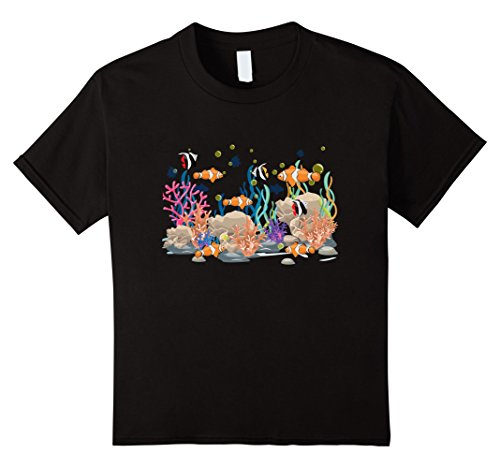 Kids Super Cool: Clown Fish Coral Reef Tropical Fish Shirt 12 - Sale For Coral Black
