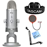 Blue Microphones Yeti Ultimate USB Microphone Silver (YETI) + Tascam Closed-Back Professional Headphones + Suspension Boom Scissor Arm Stand + Pop Filter Microphone Wind Screen + More