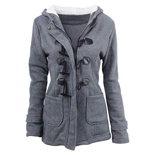 hebilla Color Dark ZFFde cuerno tamaño Invierno Abrigo 3XL y de grey capucha de abrigo invierno de con qCz7wBq