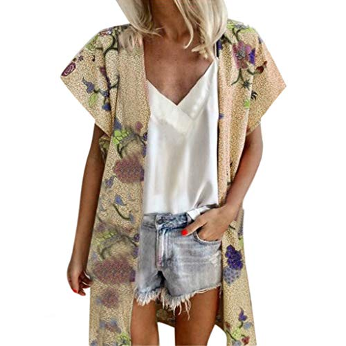 - NCCIYAZ Womens Cardigan Beach Swimwear Cover-up Plus Size Loose Summer Floral Print Cap Short Sleeve Ladies Tops(XL(12),Yellow)