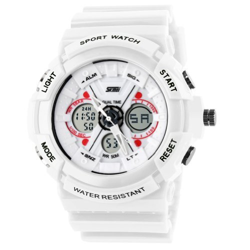 New Unisex Fashion Sport Watch Analog/Digital Water Resist Dual Time Multifunction Alarm Led Womens Mens Wristwatch 6 Colours Option 0966 (White)