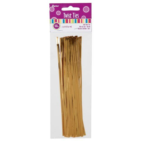Bulk Buy: Darice DIY Crafts Twist Ties Gold 7.25 inches 50 pieces (12-Pack) 28-008 by Darice