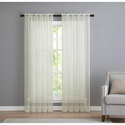 (VCNY Home Infinity Rod Pocket Sheer Window Curtains Panel Pair, 50 x 84, Ivory)