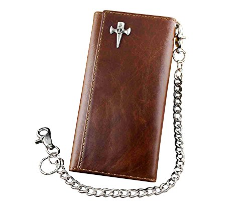 Fob Brown Purse Key Safe Mens Chain Vintage Wallet Leather With Trifold qn8Ea
