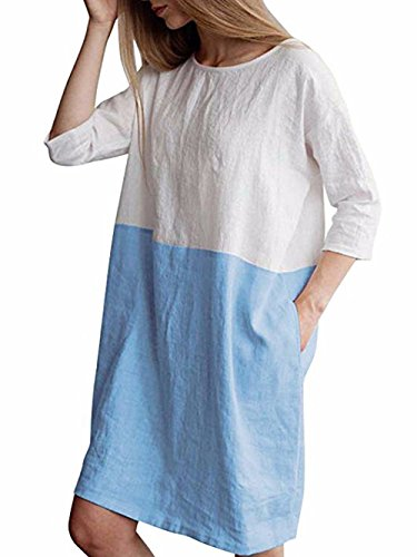 (Famulily Women's Oversized 3/4 Sleeve Two Tone Colors Loose Fit T Shirt Dress Sky Blue XL)
