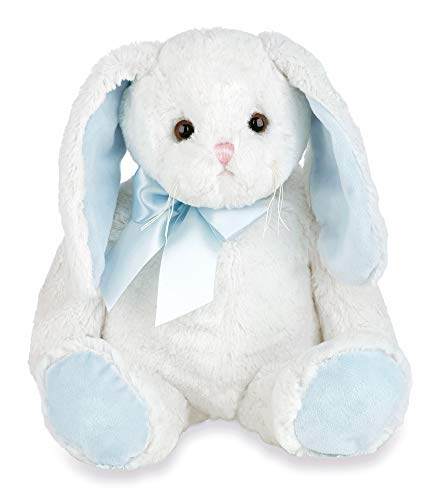 Bearington Floppy Longears White and Blue Stuffed Animal Bunny Rabbit, 16 inches