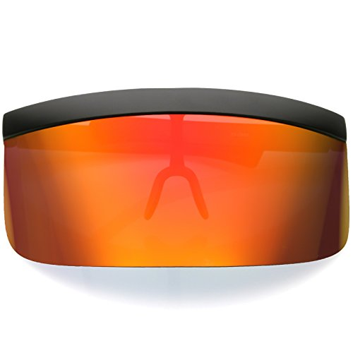 sunglassLA - Futuristic Oversize Shield Visor Sunglasses Flat Top Mirrored Mono Lens 172mm (Red Orange Mirror)