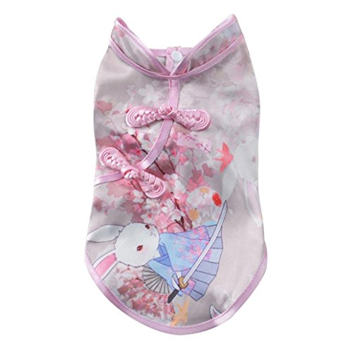 Sinfu Pet Dress, Cute Tang Suit Chinese Cheongsam Costume Clothes for Dogs Pet Puppy Cats (M, B) ()