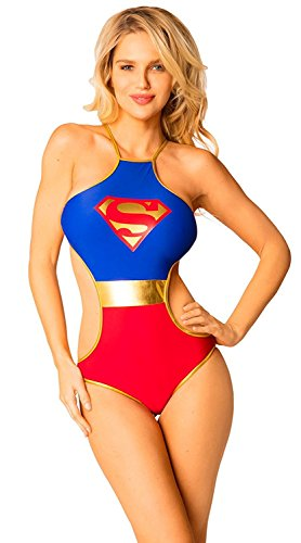 DC Comics Supergirl Superman Logo Criss-Cross Back Monokini Halter One Piece Bathing Suit (Large, Red-Blue)