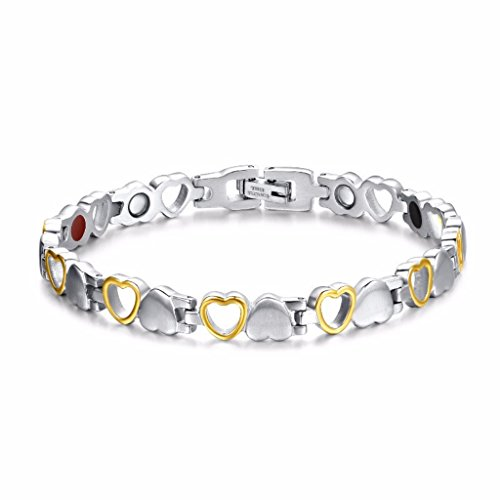 Rainso Womens Love Heart Design Stainless Steel Magnetic Golded Plated Bracelet Free Link Removal Tool (Stainless steel bracelet JEWAM130SG)