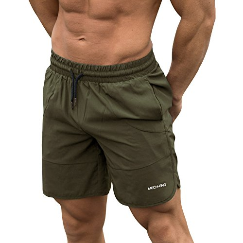 Mech-Eng Men's Dry Fit Workout Gym Bodybuilding Shorts with Pockets(Army Green M/Tag - Shorts Us Running Army