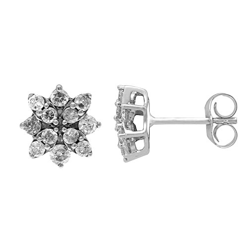 JewelExclusive 10K Whie Gold 1/2cttw Natural Round Cut Diamond (J-K Color, I2-I3 Clarity) Star Stud Earrings (White Diamond Gold Star Earrings)