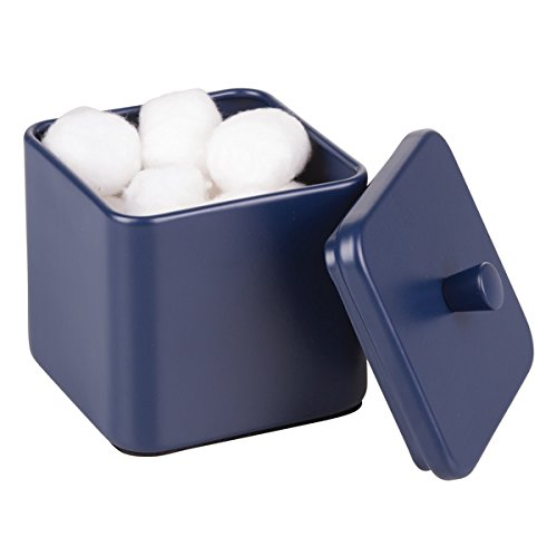 mDesign Bathroom Vanity Countertop Storage Organizer Canister Jars for Cotton Swabs, Rounds, Balls, Makeup Sponges, Beauty Blenders, Bath Salts - Square, Matte Finish, Navy Blue