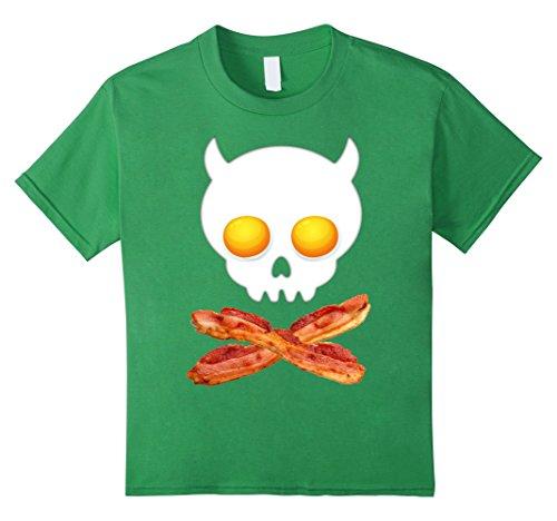 Kids Breakfast Skull Shirt Egg and Bacon Skull Crossbones Tshirt 8 Grass