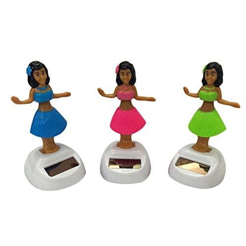 Refaxi 2017 Solar Powered Dancing Hula Girl Hawaiian Luau Party Bobble Head Doll Figure (Head Hula Doll Bobble)
