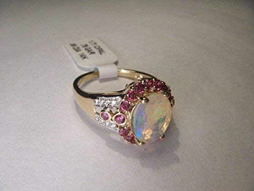 - Gorgeous Estate 14K Yellow Gold Diamod Opal Rhodolite Garnet Ring