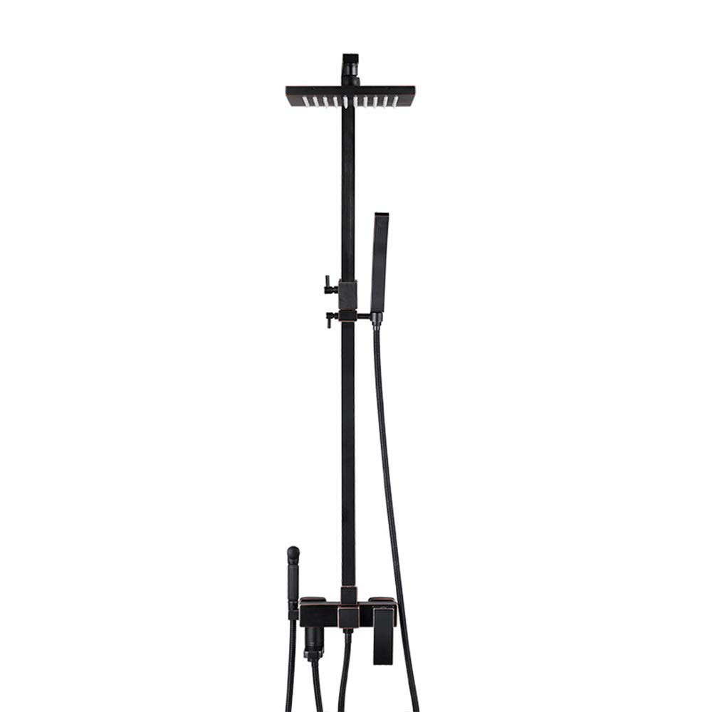 A Bathroom Shower, Black Brass Wall Mounted Shower System with Hand Shower, Square Top Sprinkler,A