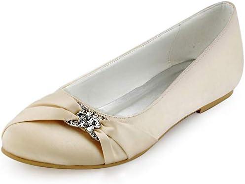 Wedding Shoes For Bride Low Heel Champagne Rhinestone Decoration